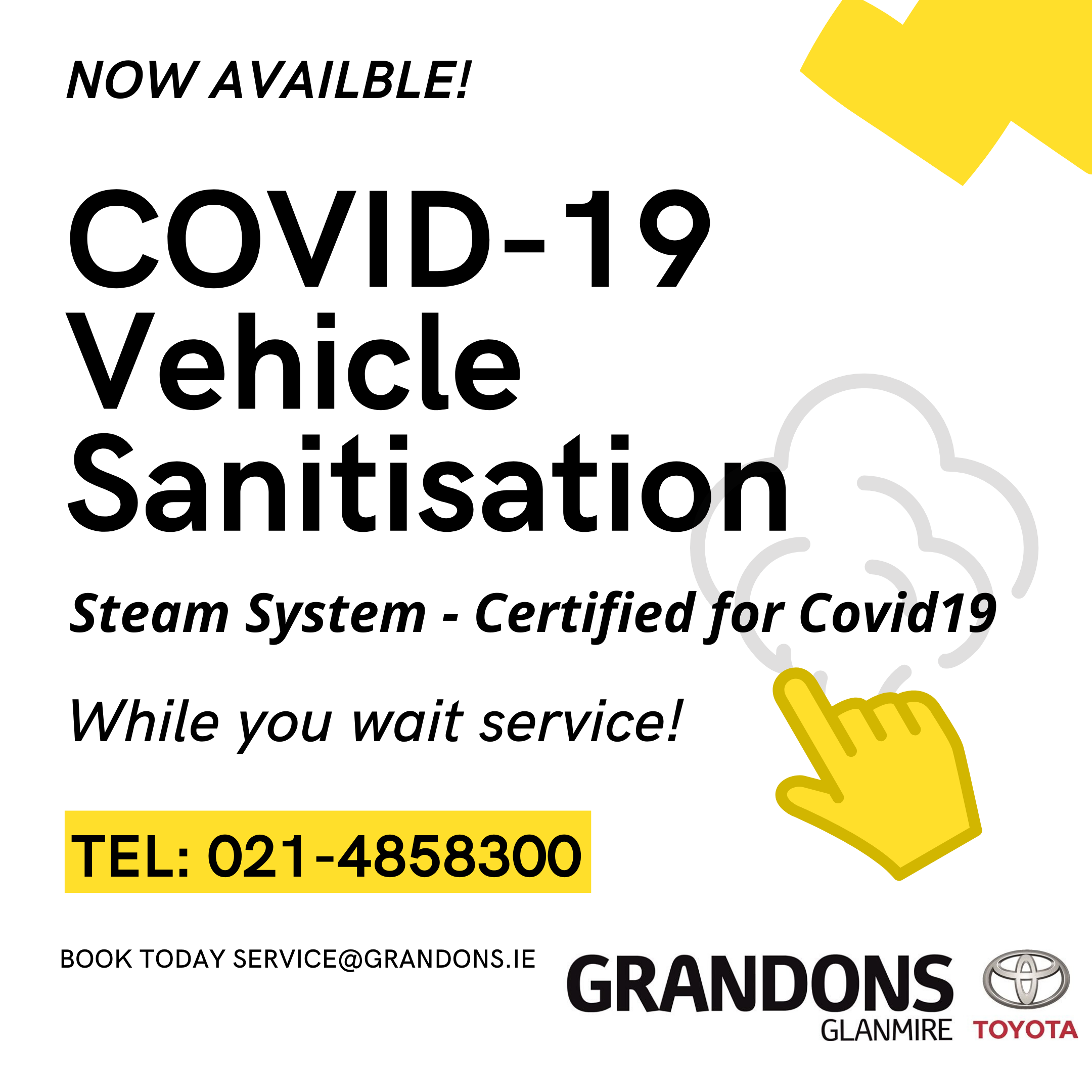 Covid19 Vehicle Sanitisation Service Gradons Toyota cork whil you wait