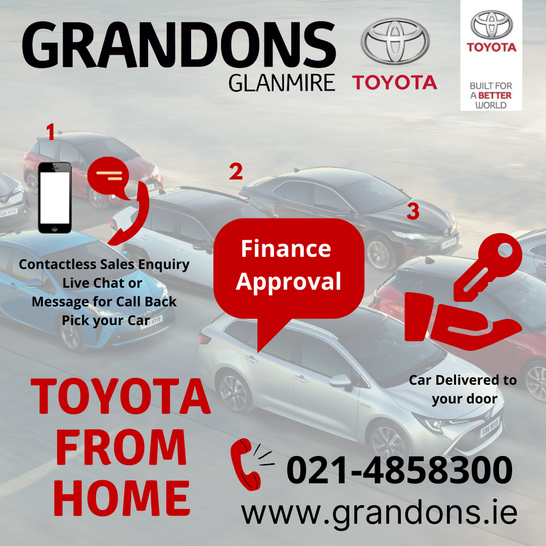 Toyota From Home, a new way of buying a new or used toyota from Grandons Toyota Cork